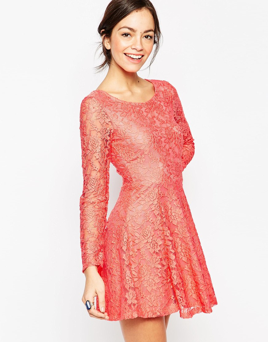 Wal-g Long Sleeve Lace Skater Dress in Pink | Lyst