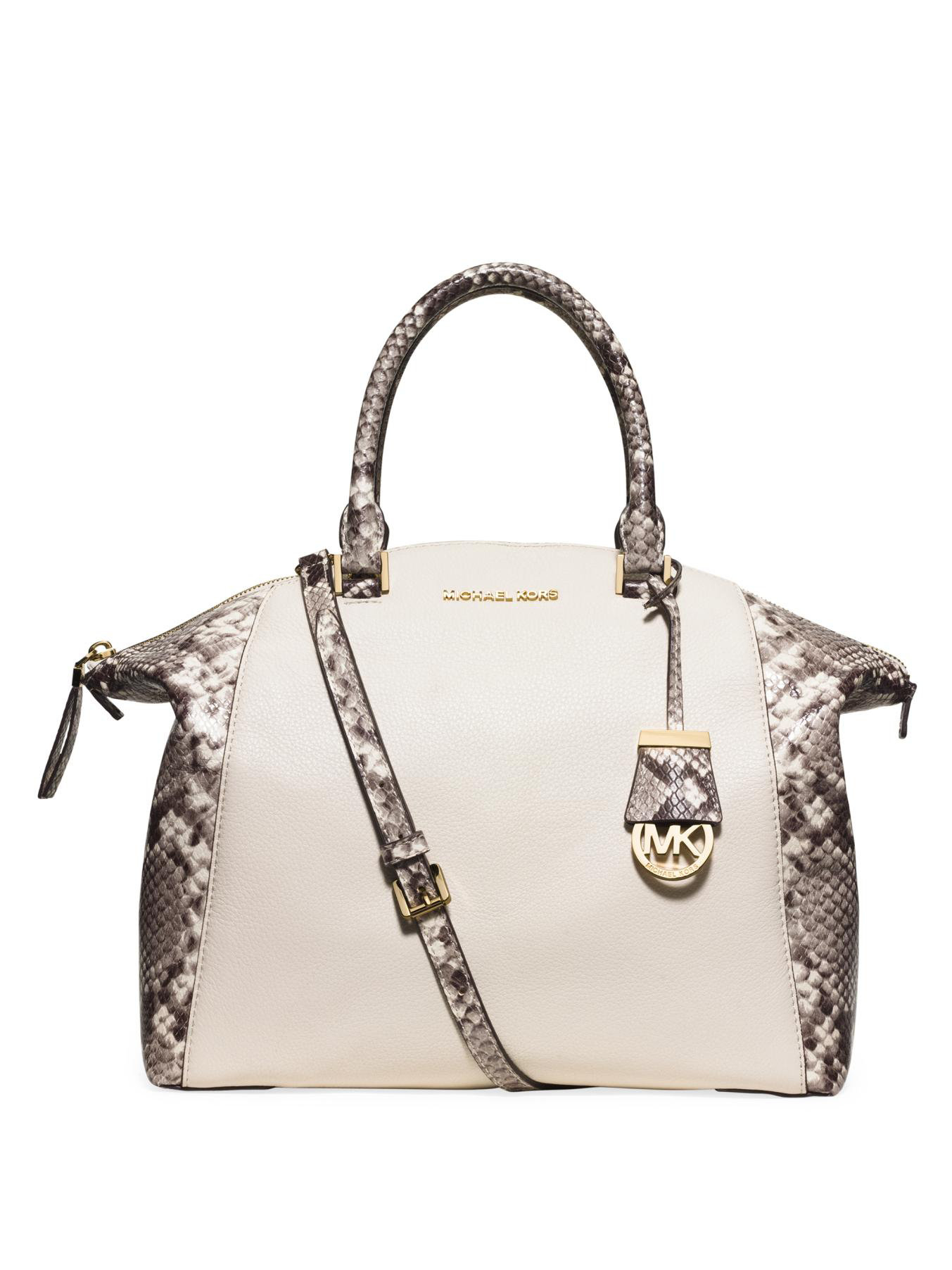 393806cf9370 ... coupon code for lyst michael michael kors riley large python embossed  satchel bag 7cd41 17496