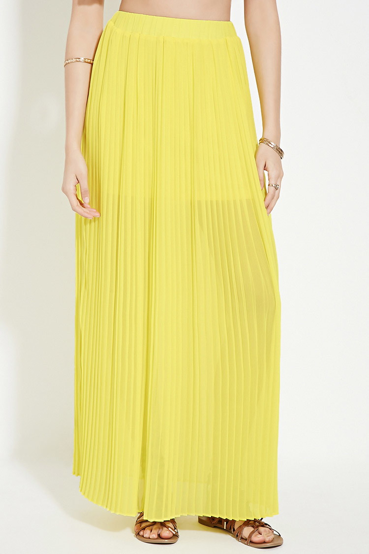 forever 21 accordion pleated maxi skirt in yellow lyst
