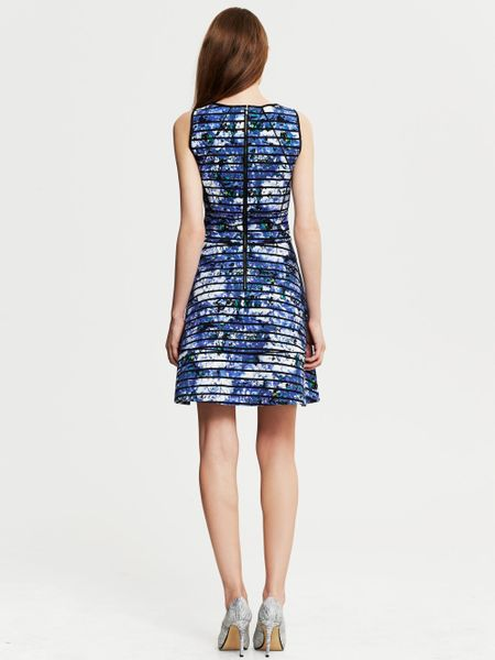 Banana Republic Striped Floral Fit And Flare Dress Riviera