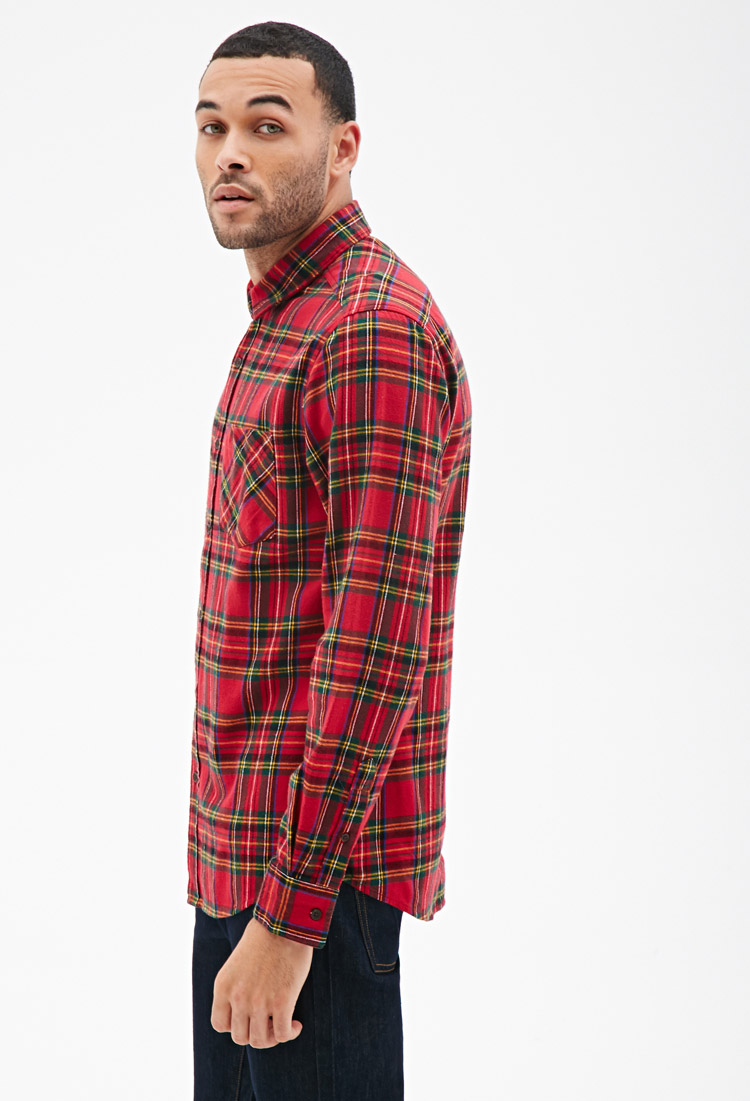 Forever 21 Plaid Flannel Collared Shirt In Red For Men Lyst