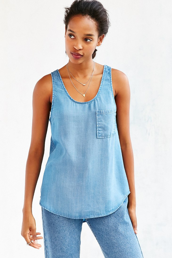 Lyst bdg chambray tank top in blue for Chambray top