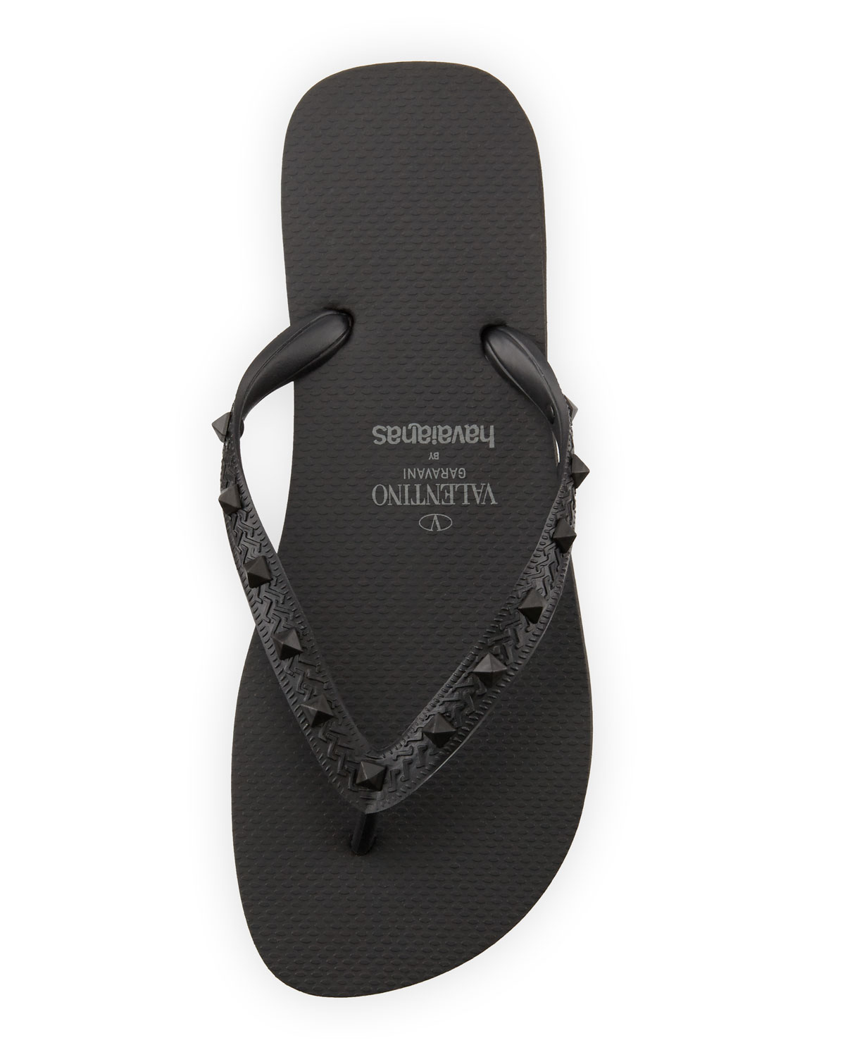 a420e8f2657d Lyst - Valentino By Havaianas Rockstud Flip Flop in Black