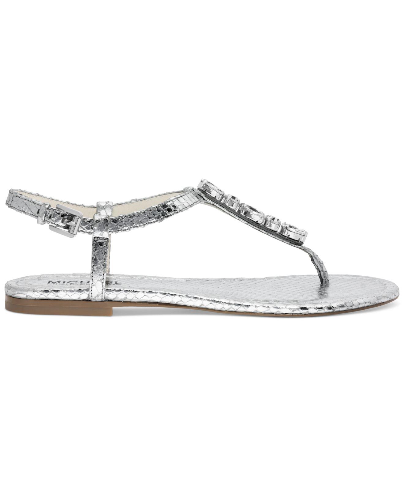 7c4dce761 Lyst - Michael Kors Michael Jayden Jeweled Flat Thong Sandals in ...