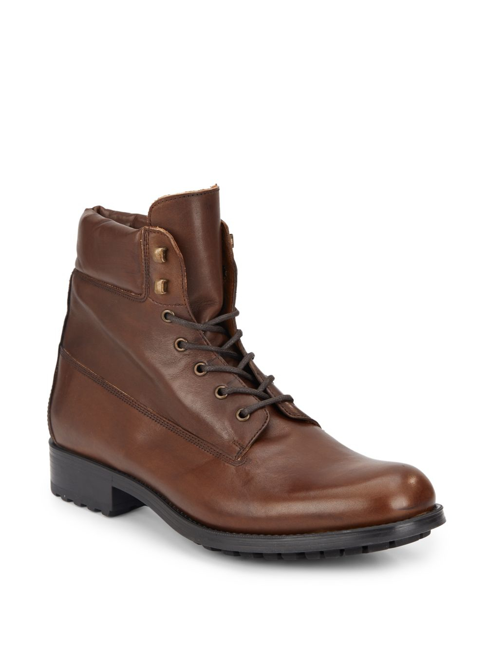 saks fifth avenue leather boots in brown for lyst