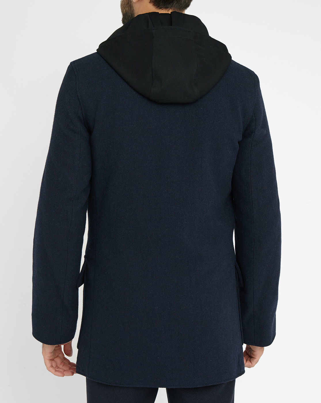 Acne Navy Melker Pea Coat With Contrasting Removable Hood ...