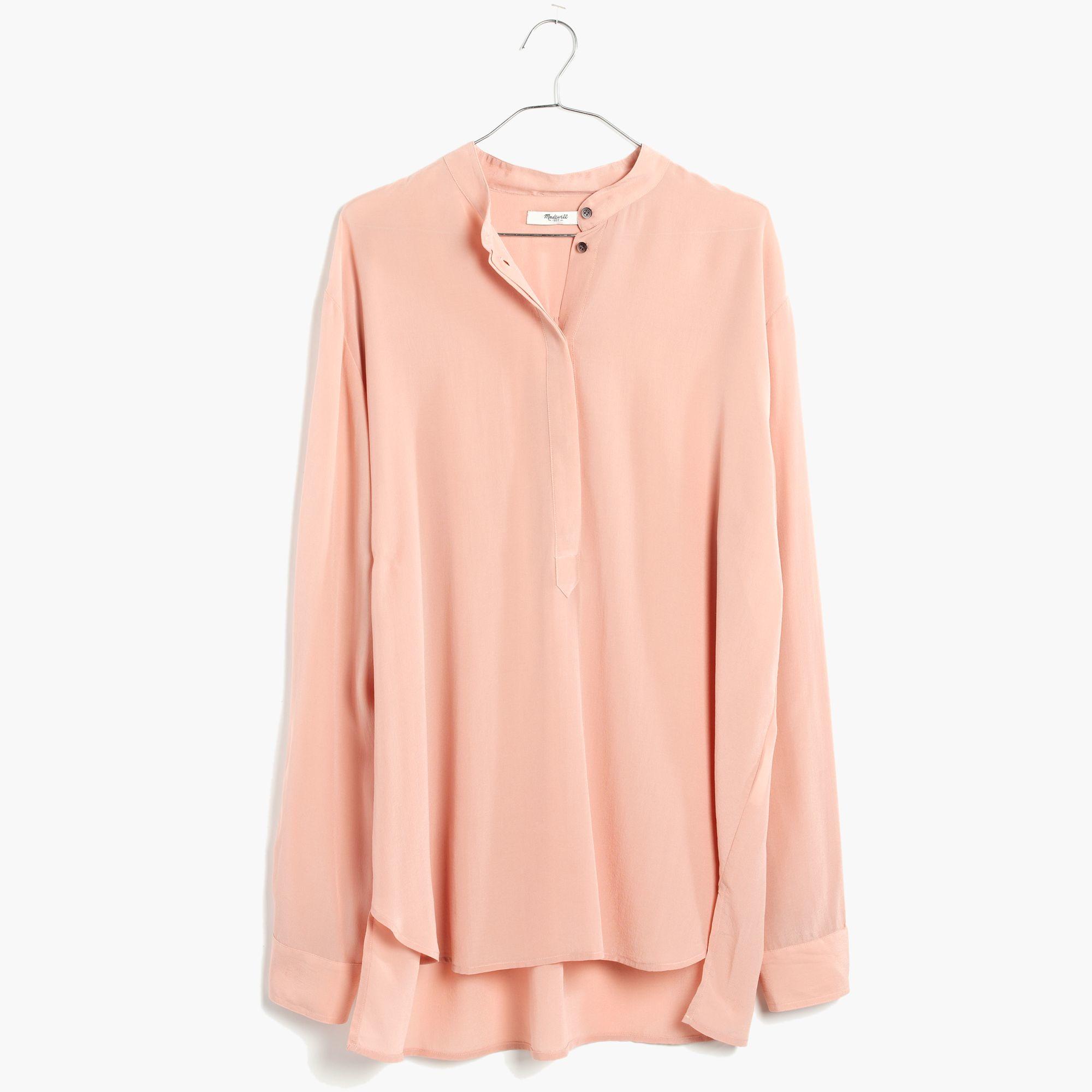Madewell Silk Cinema Popover Shirt In Gentle Blush in Pink | Lyst