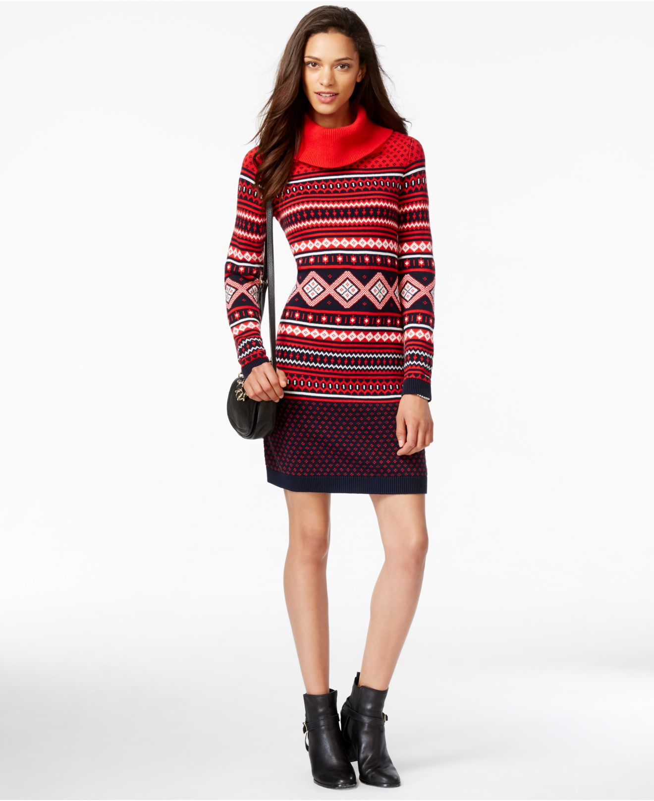 Tommy hilfiger Printed Cowl-neck Sweater Dress in Red   Lyst