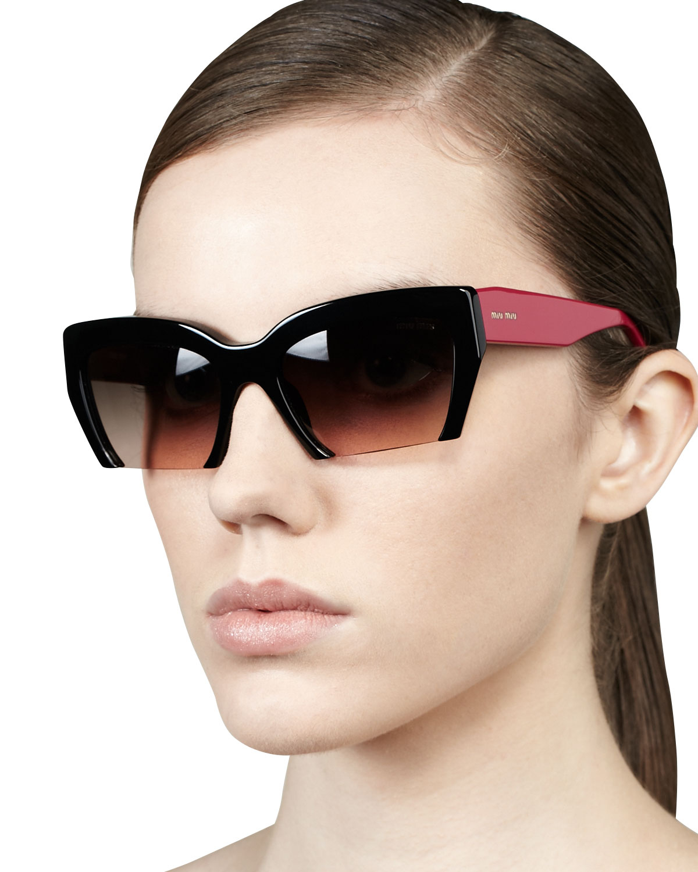 3ae31b359f1 Lyst - Miu Miu Rasoir Cutoff Square Sunglasses in Pink