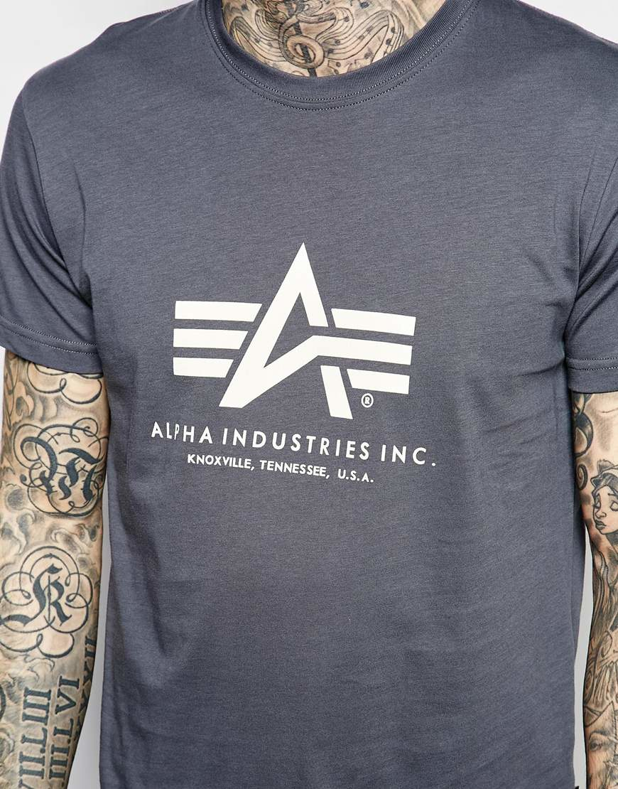 alpha industries lpha industries t shirt with logo in grey. Black Bedroom Furniture Sets. Home Design Ideas