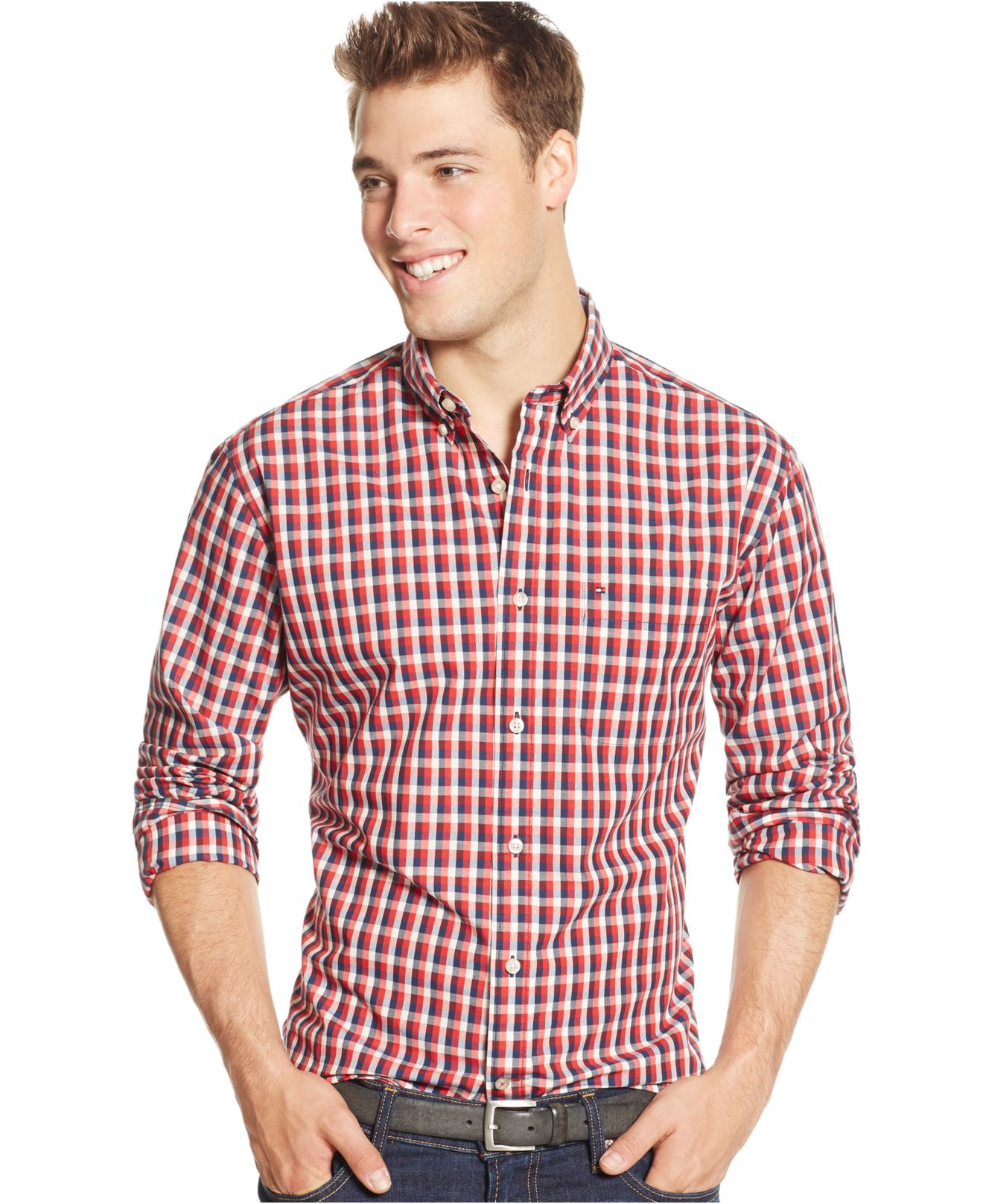 Tommy hilfiger checkered print long sleeve shirt in red for Print long sleeve shirt