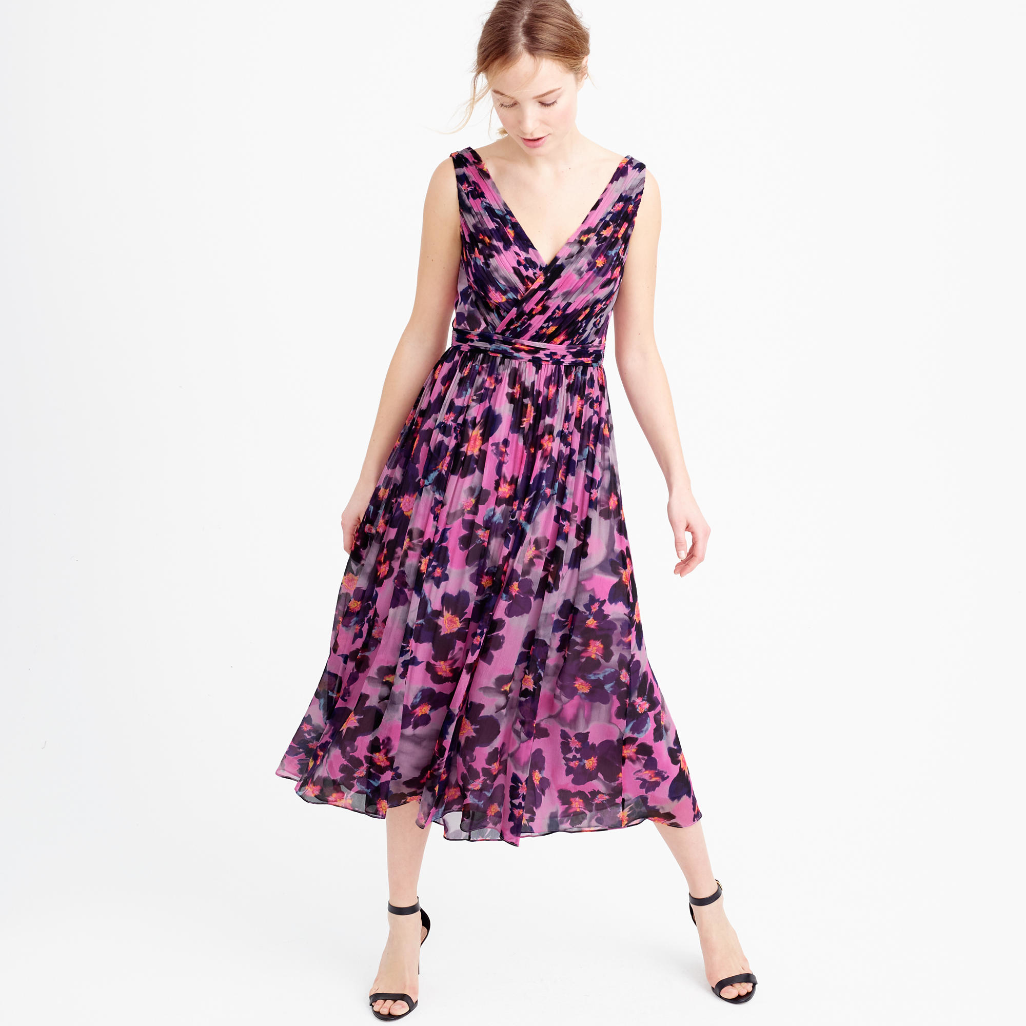 Can floral silk chiffon dress