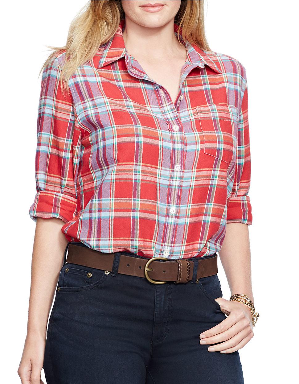 lauren by ralph lauren plus plaid cotton shirt in red lyst