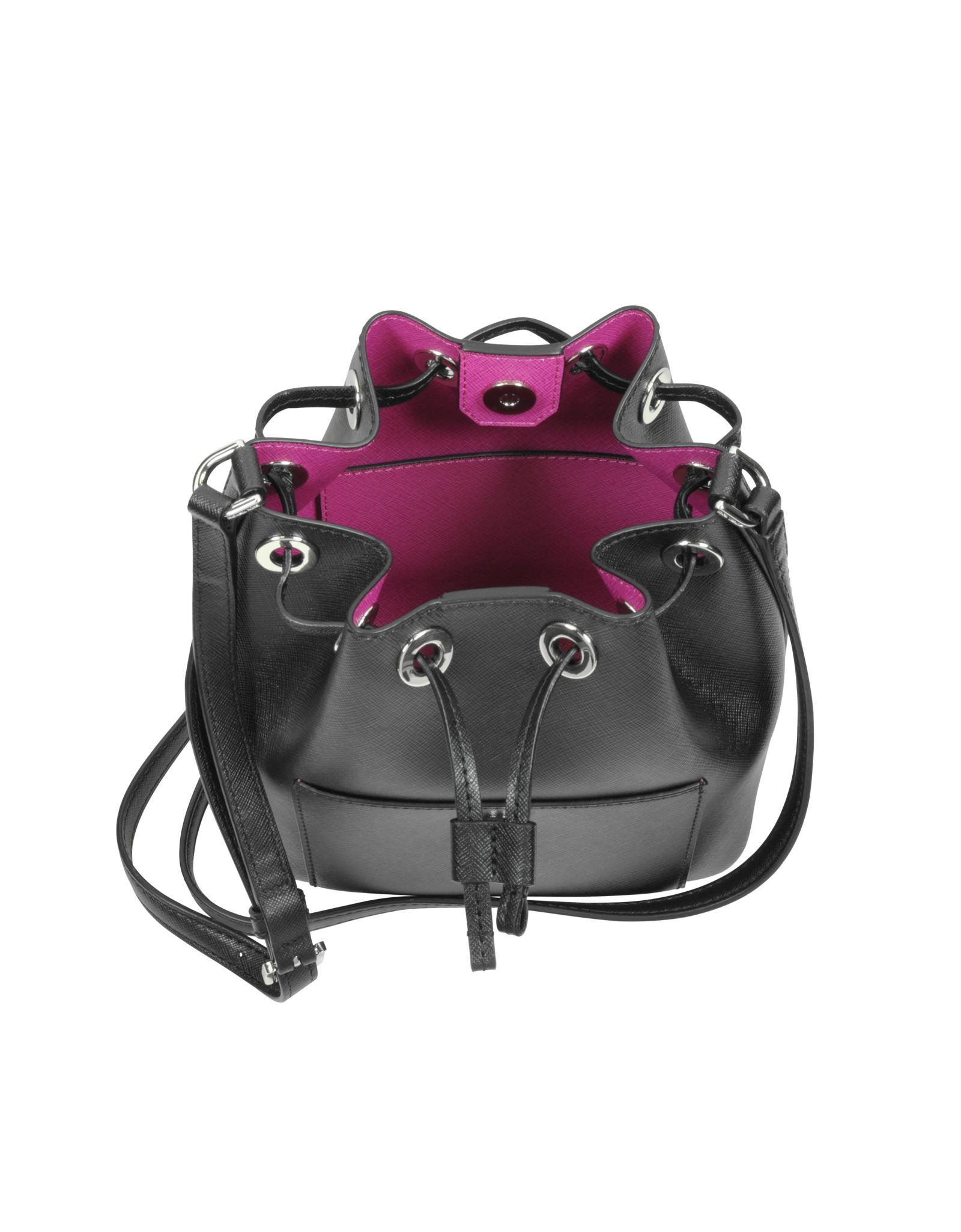 1b3929a41bad2 ... Michael kors Greenwich Saffiano-Leather Bucket Bag in Black ...