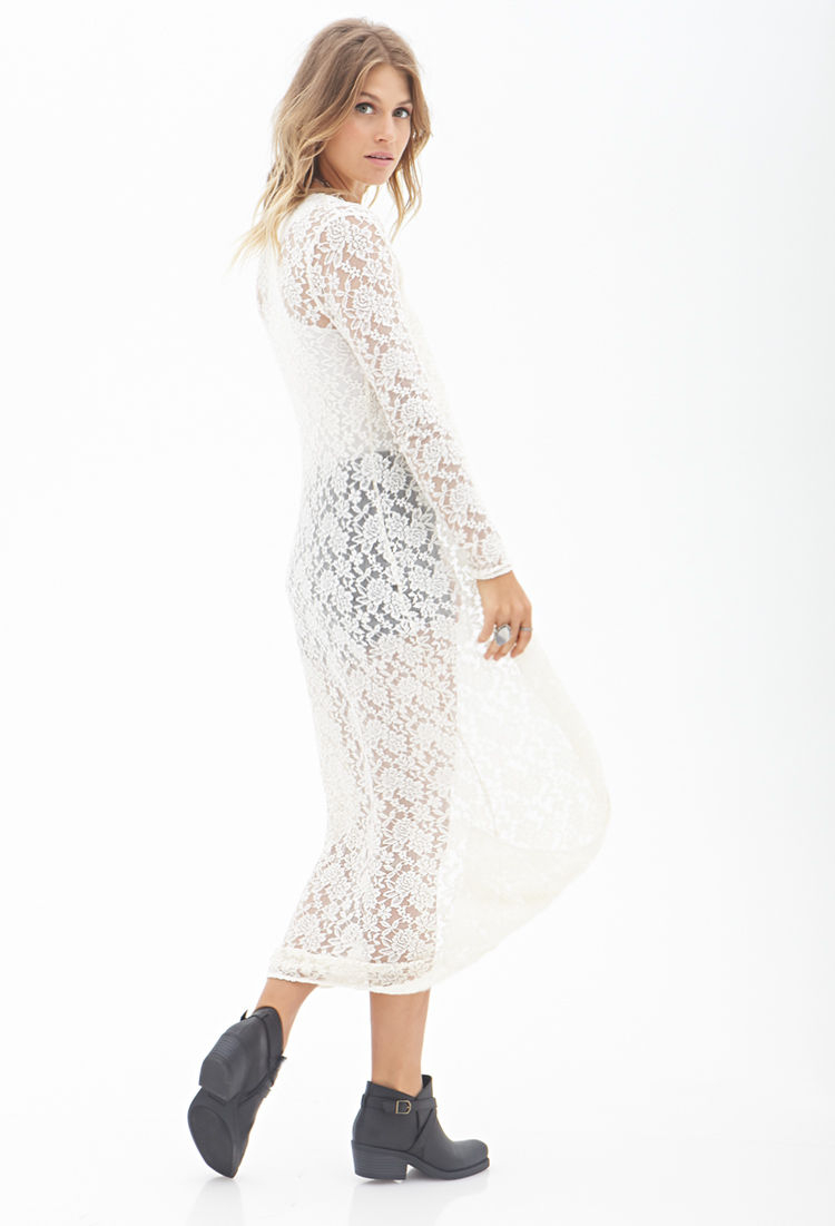 Forever 21 Floral Lace Maxi Cardigan You've Been Added To The ...