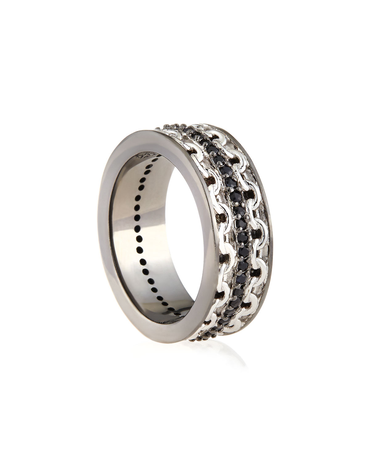 stephen webster s silver ring with black sapphire in
