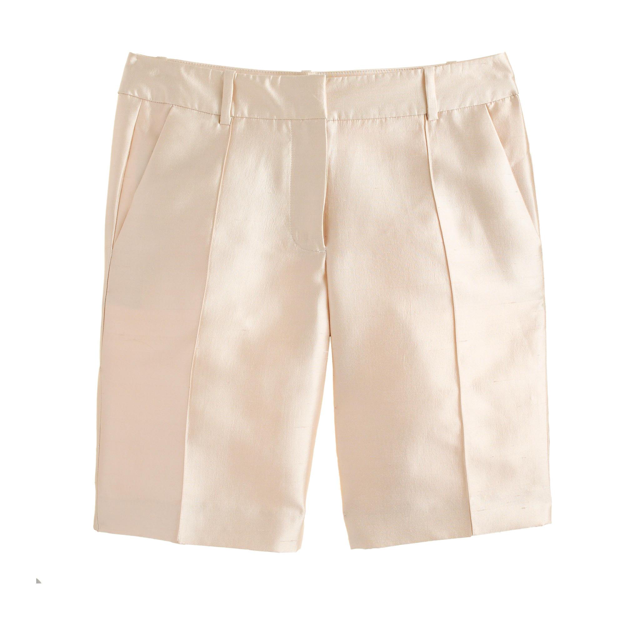 J.crew Collection Silk Shantung Bermuda Short in White