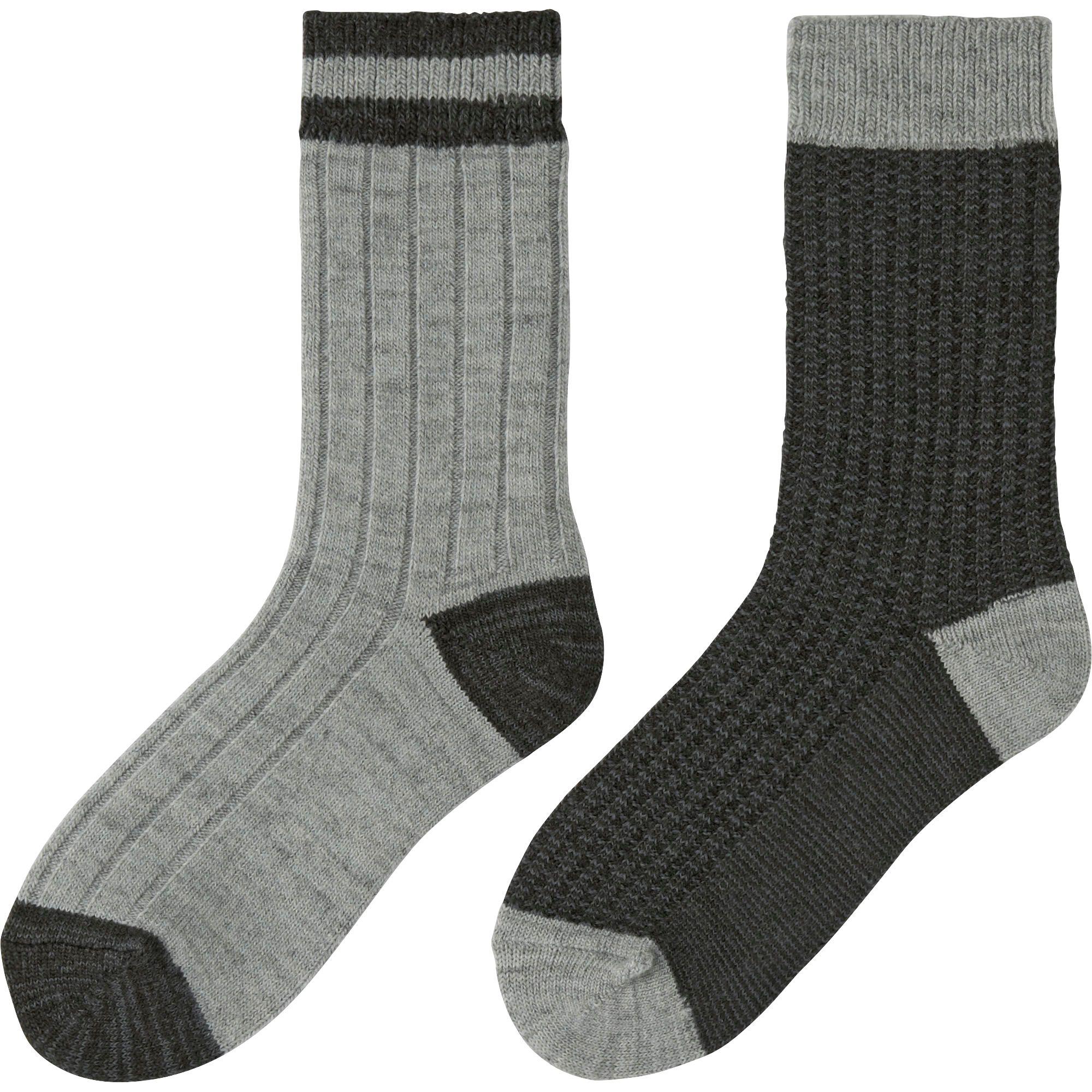 Uniqlo Women Heattech Socks 2 Pairs (rib) In Gray | Lyst