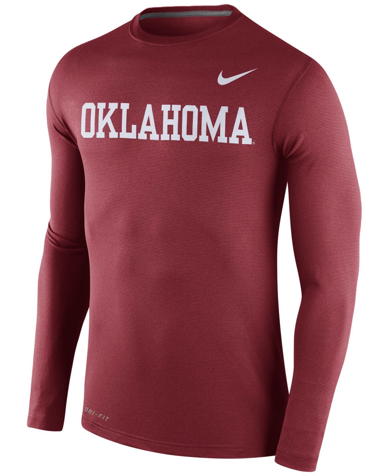 Nike Men 39 S Long Sleeve Oklahoma Sooners Dri Fit T Shirt In