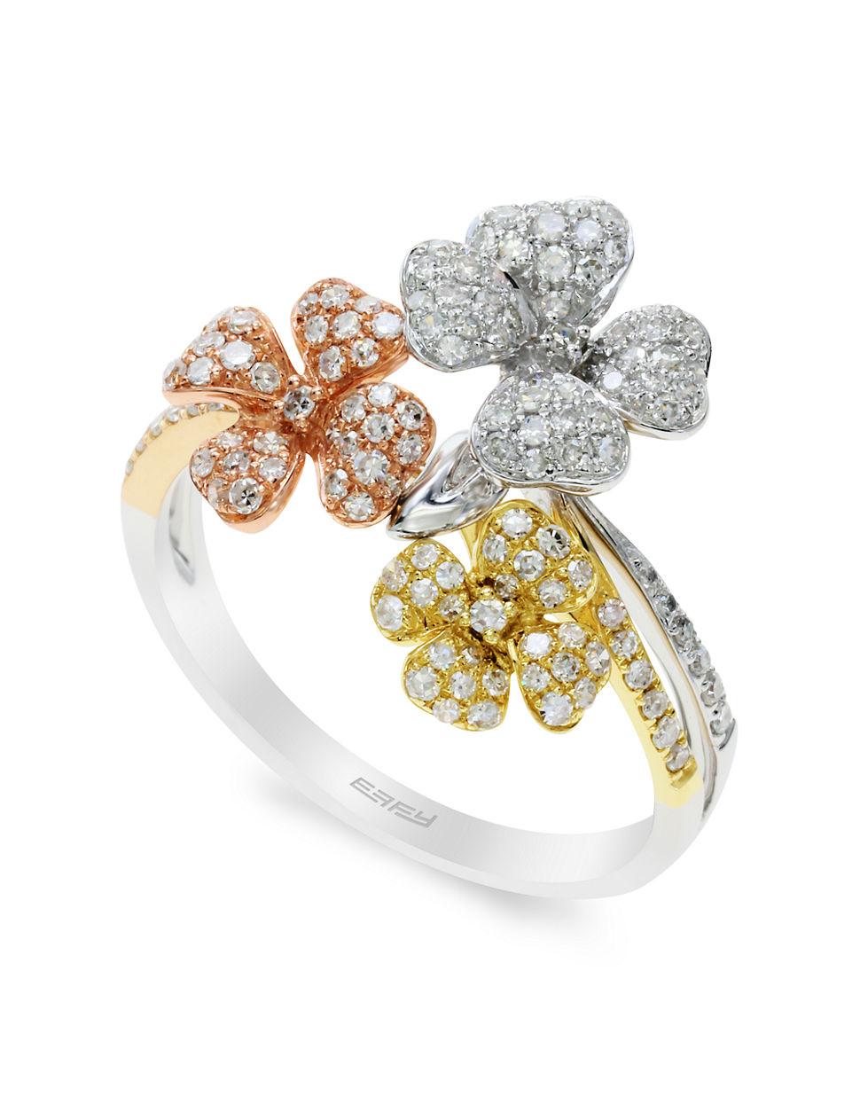 Lyst Effy Trio 14k White Yellow Rose Gold Diamond Flower Ring In