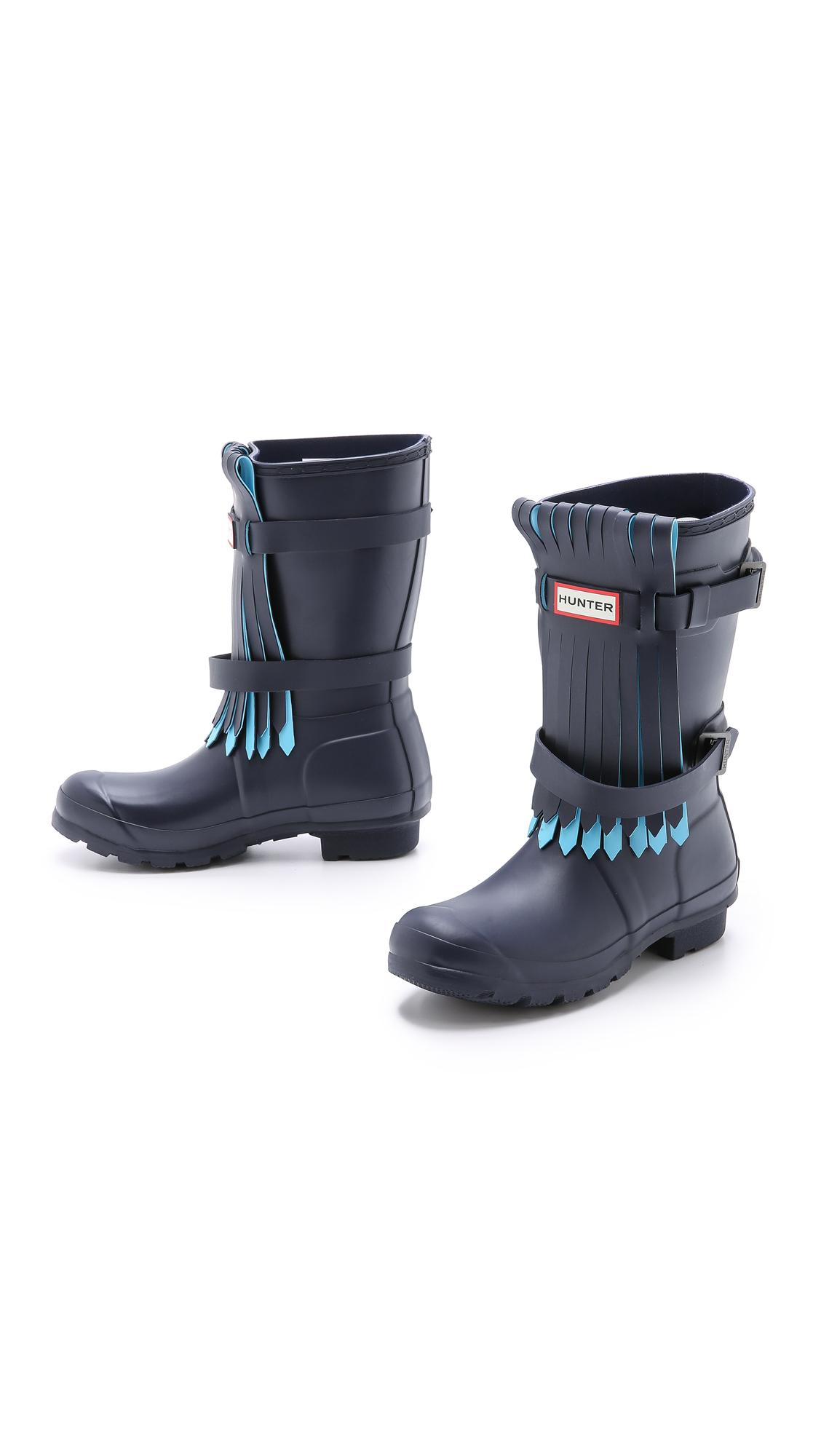 Hunter Original Fringe Short Boots - Black/Dark Slate in ...
