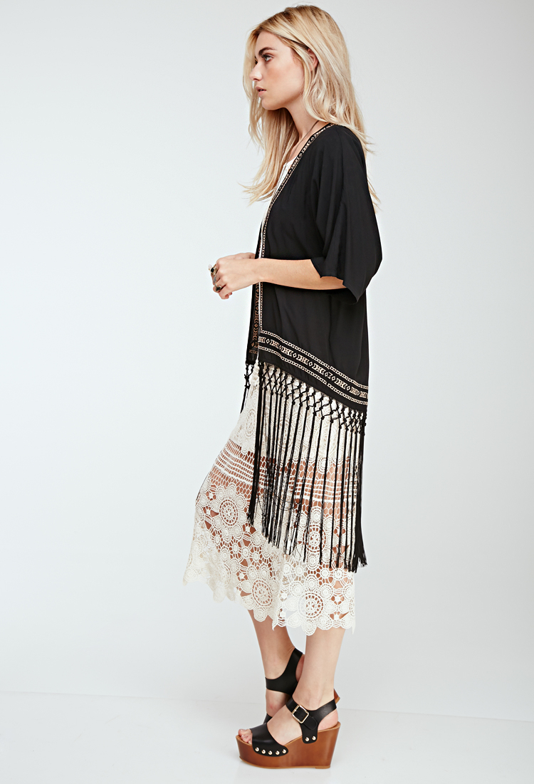 7fbb01bfee0b5 Lyst - Forever 21 Fringed Southwestern-embroidered Kimono in Black