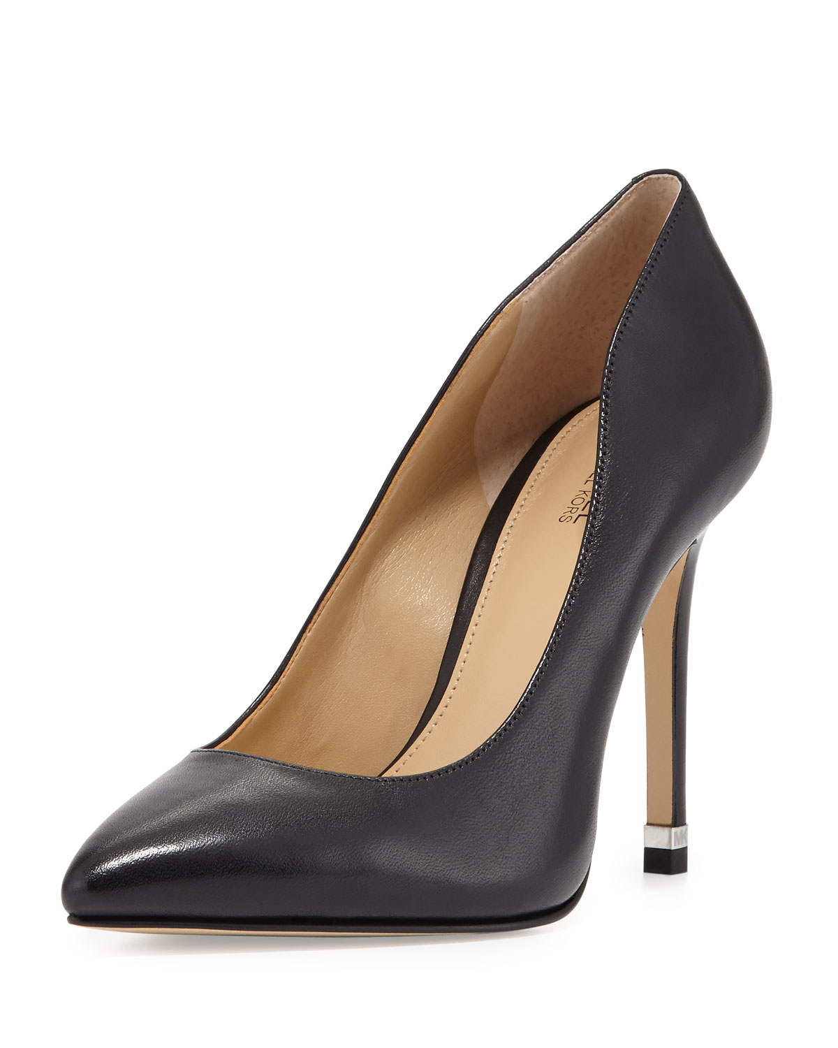 lyst michael michael kors arianna leather pointed toe pump in black. Black Bedroom Furniture Sets. Home Design Ideas