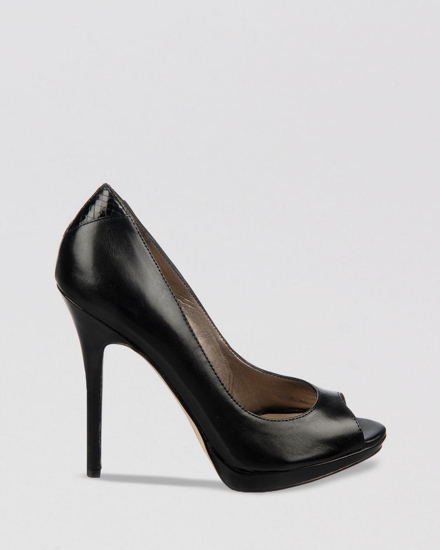 c4fe9cace Lyst - Sam Edelman Peep Toe Platform Pumps - Ella High Heel in Black