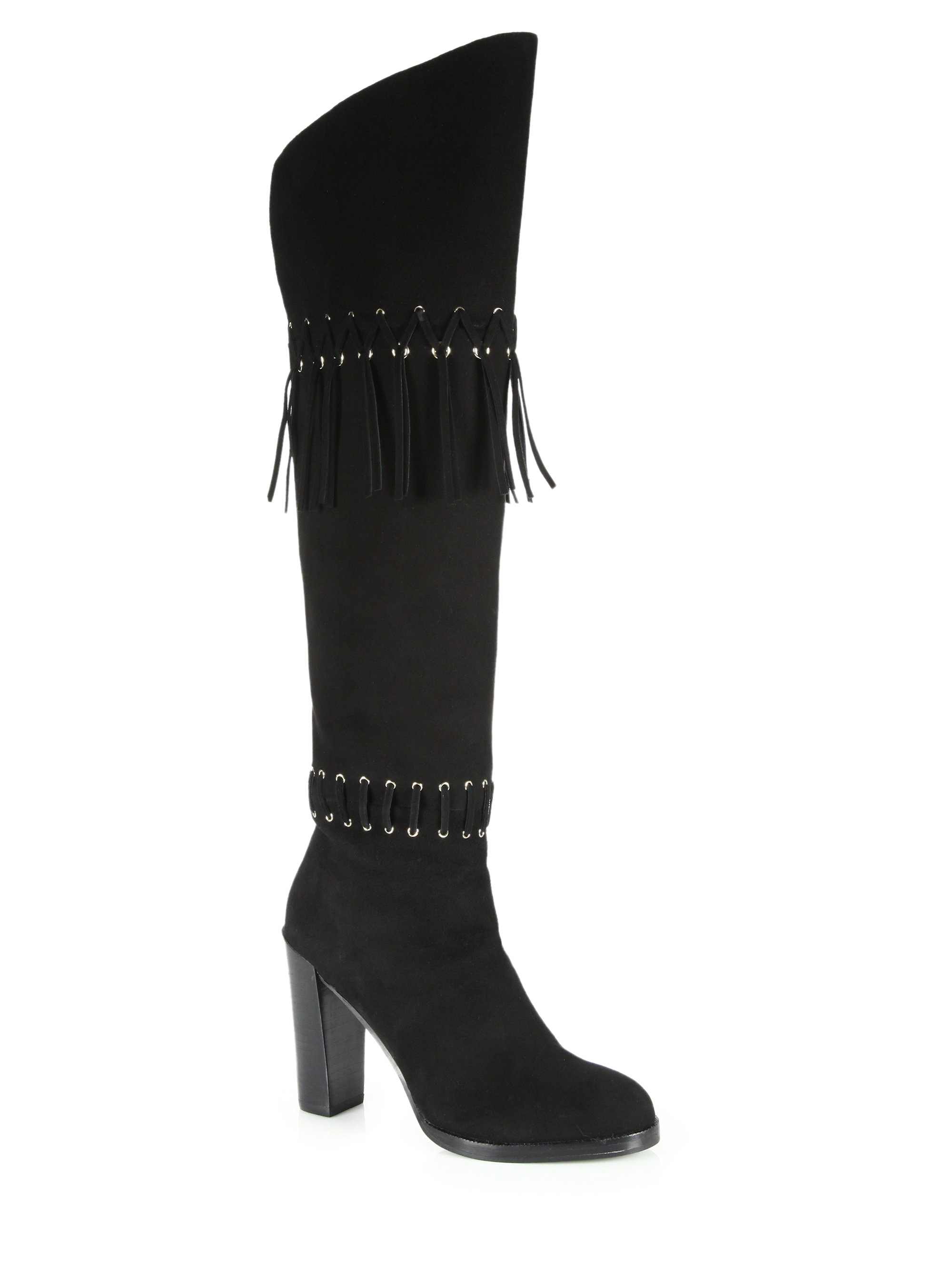 minkoff bardot suede fringe knee high boots in