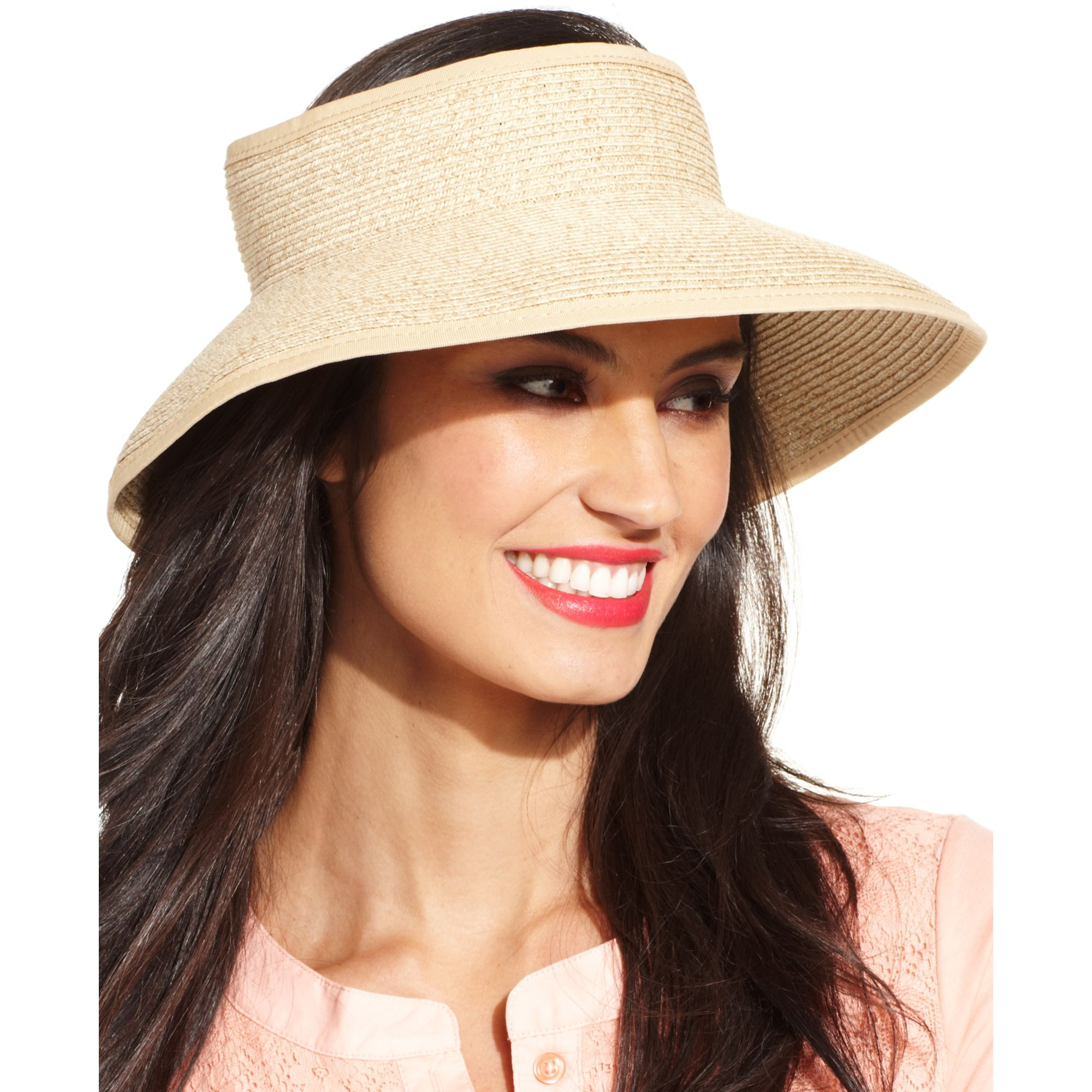 f784ba8f39f Lyst - Nine West Rollup Straw Sun Visor in White