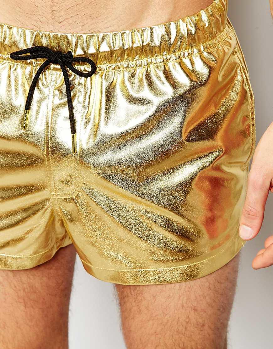 7251a0942bf59 ASOS Swim Shorts In Metallic Gold Short Length in Metallic for Men - Lyst