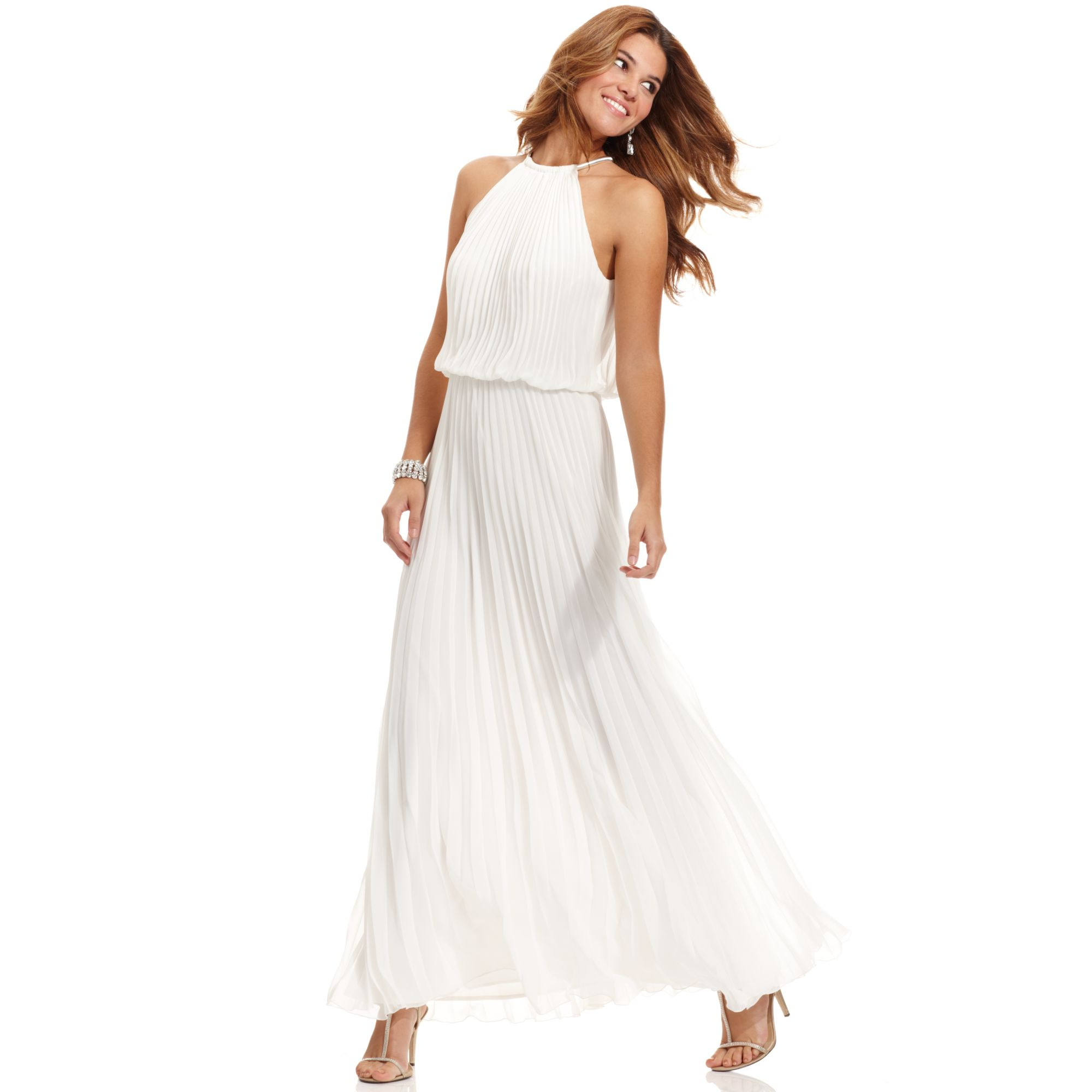 Xscape Dress Sleeveless Pleated Blouson Gown in White (Ivory)   Lyst