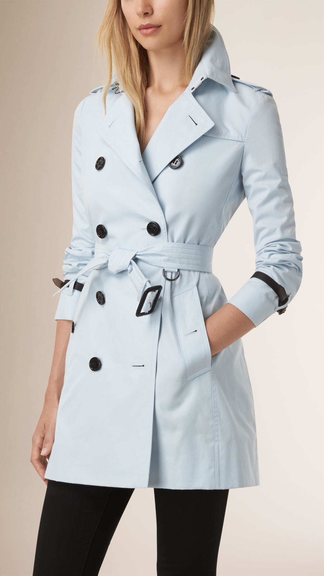 Lyst Burberry Leather Trim Cotton Gabardine Trench Coat