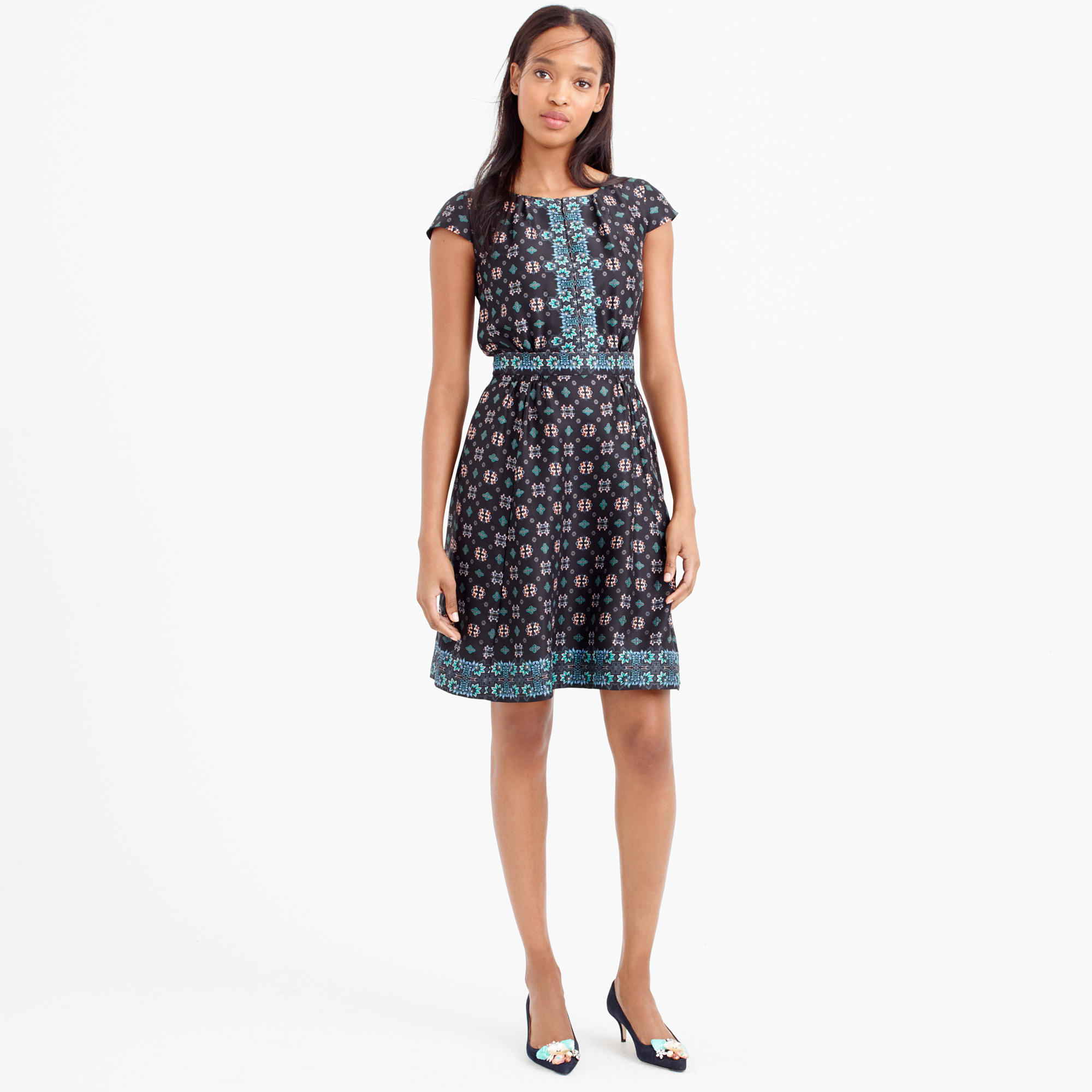 J Crew Silk Cap Sleeve Dress In Mirrored Floral In Black