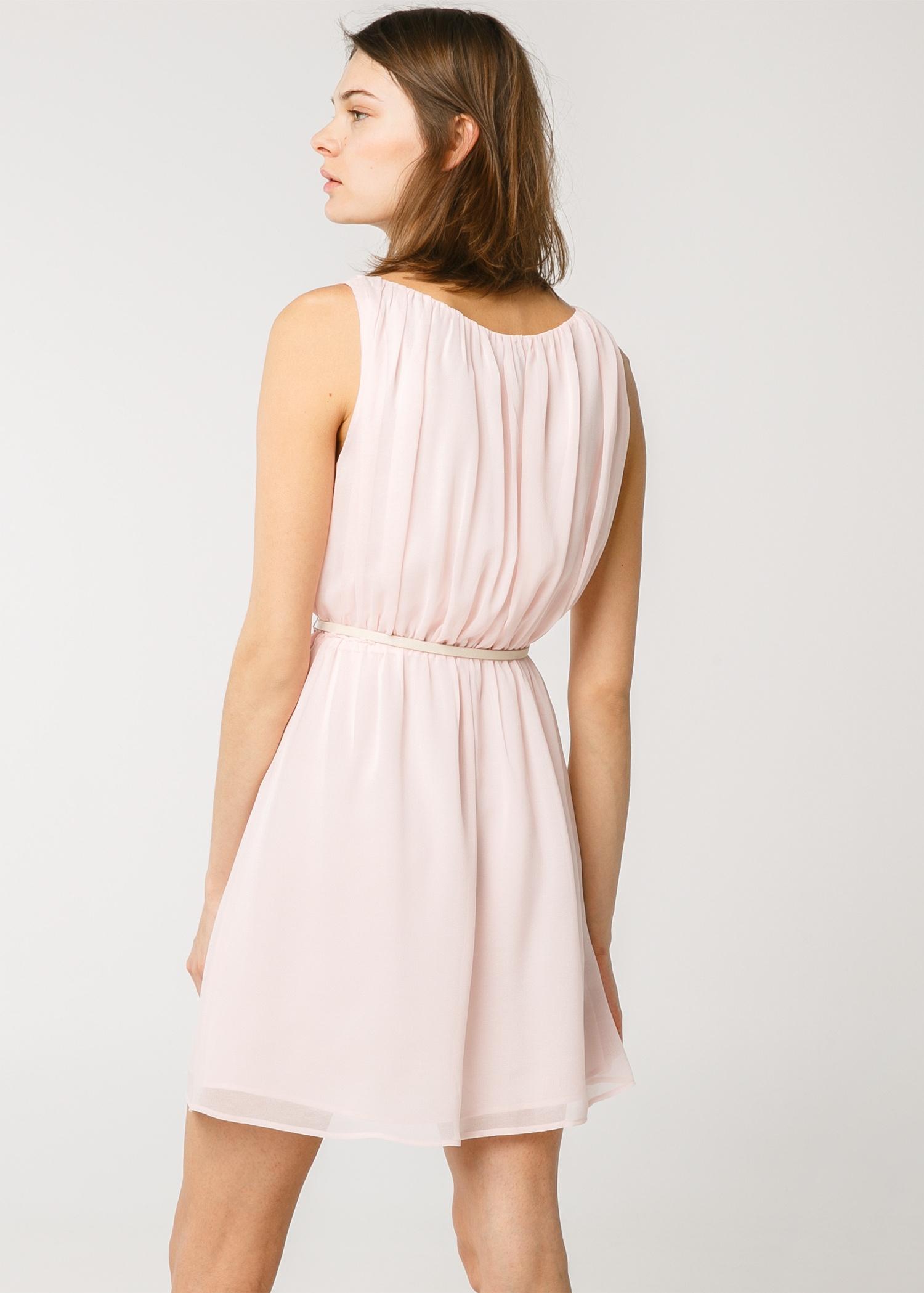 Lyst - Mango Pleated Flowy Dress in Pink