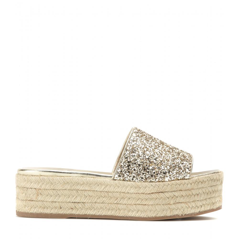 Miu Miu Platform glitter sandals Affordable Online New Styles Cheap Online Limit Discount SbqO4