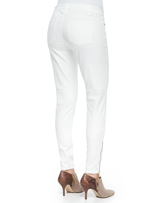 Lyst - MICHAEL Michael Kors Zipper-Cuff Skinny Jeans in White 5939d5220