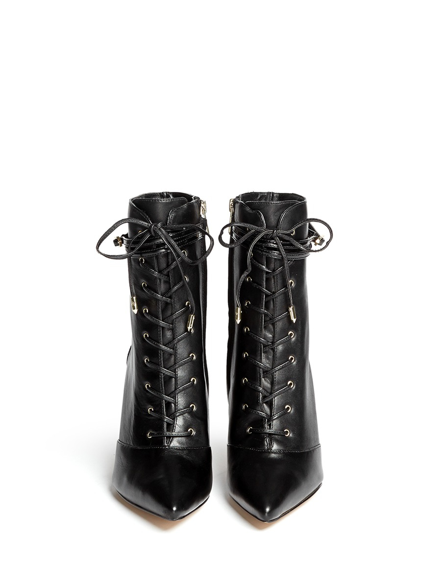 86c7f6367ae8f4 Lyst - Sam Edelman bryton Lace-up Leather Boots in Black on feet images of  Main  View - Click To Enlarge - Sam Edelman - Hilty crinkled ...