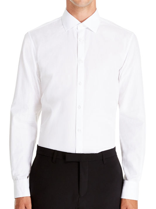 Dkny classic slim fit dress shirt in white for men lyst for Classic white dress shirt
