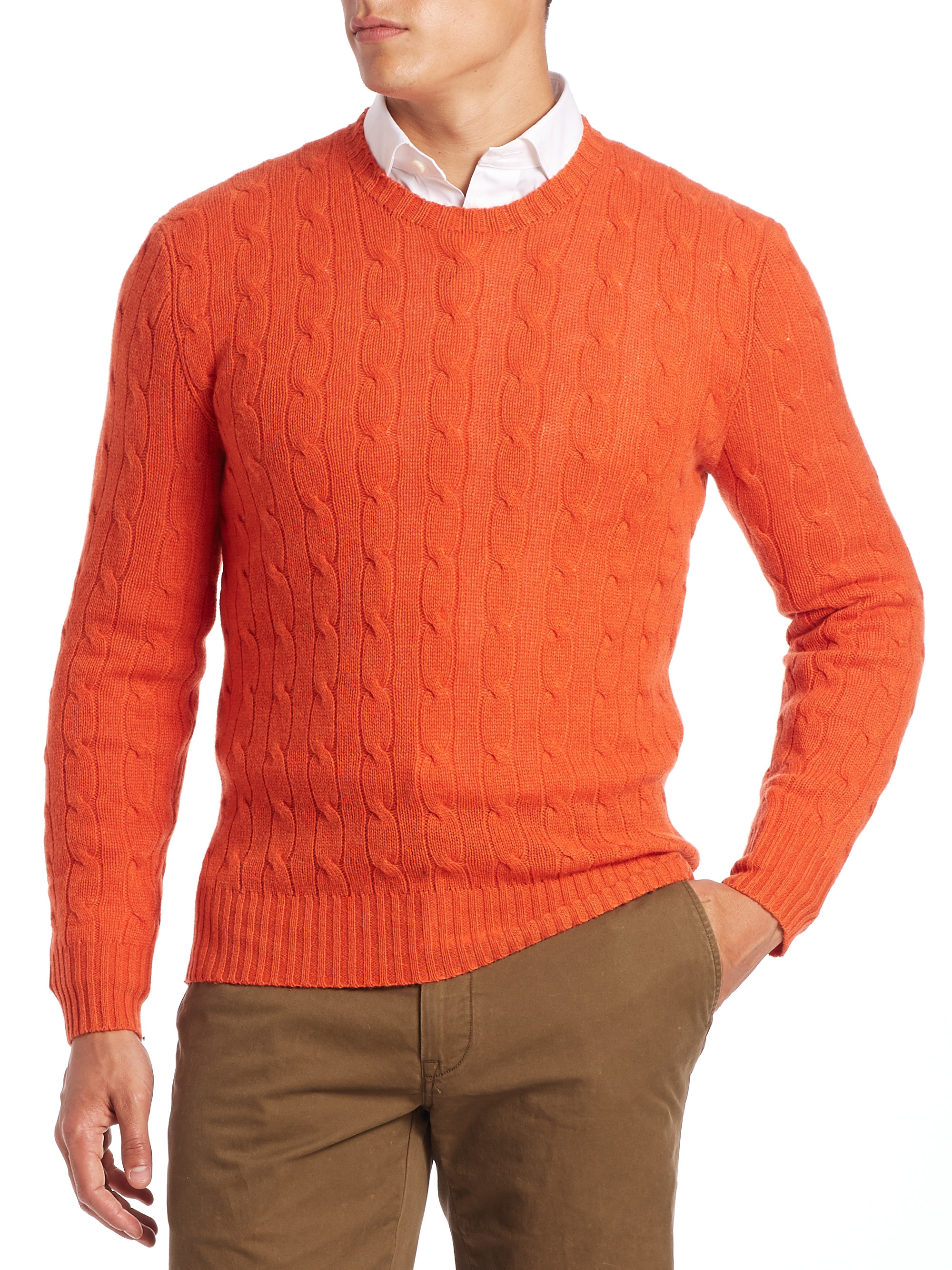 Polo Ralph Lauren Cable Knit Cashmere Sweater In Orange For Men Lyst