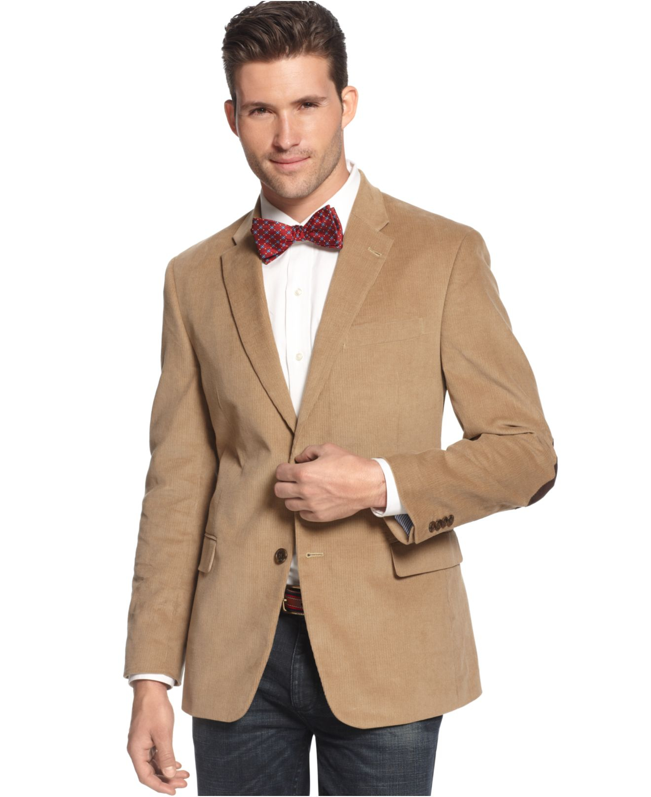 Tommy Hilfiger Solid Trim-fit Corduroy Sport Coat With ...