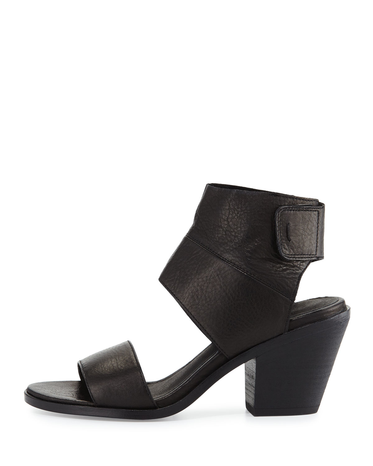 Eileen fisher Art Leather Ankle-cuff Sandal in Black | Lyst