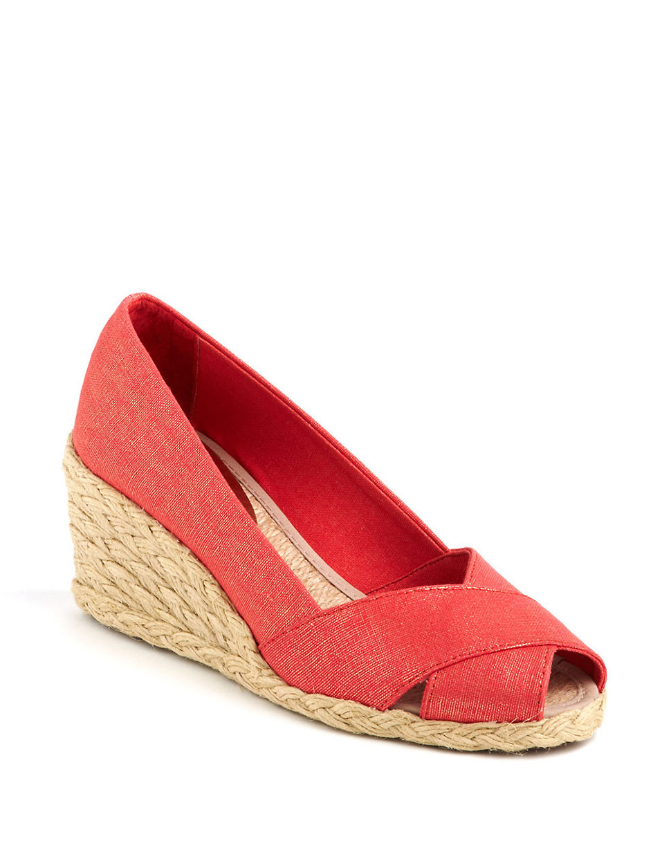 lauren by ralph lauren cecilia metallic linen wedge espadrille sandals in red lyst. Black Bedroom Furniture Sets. Home Design Ideas