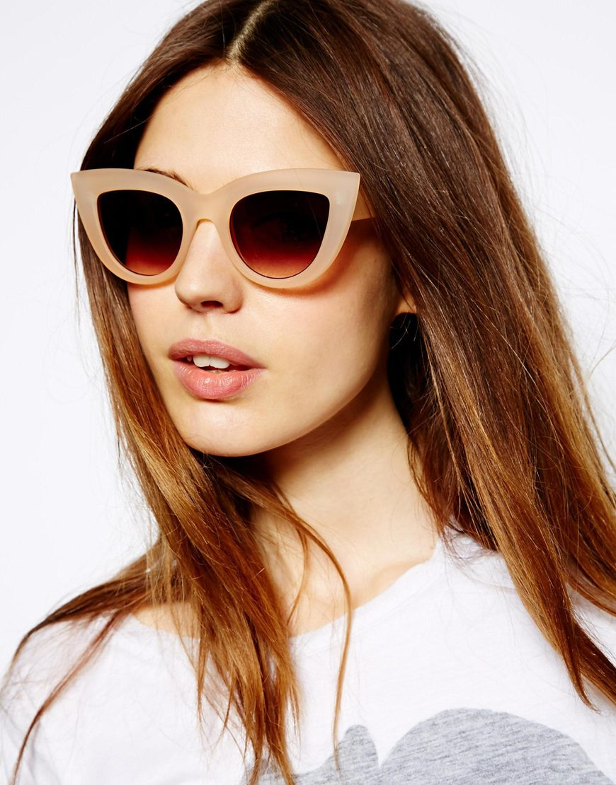 Flat Top Cat Eye Sunglasses  asos flat top cat eye sunglasses in natural lyst