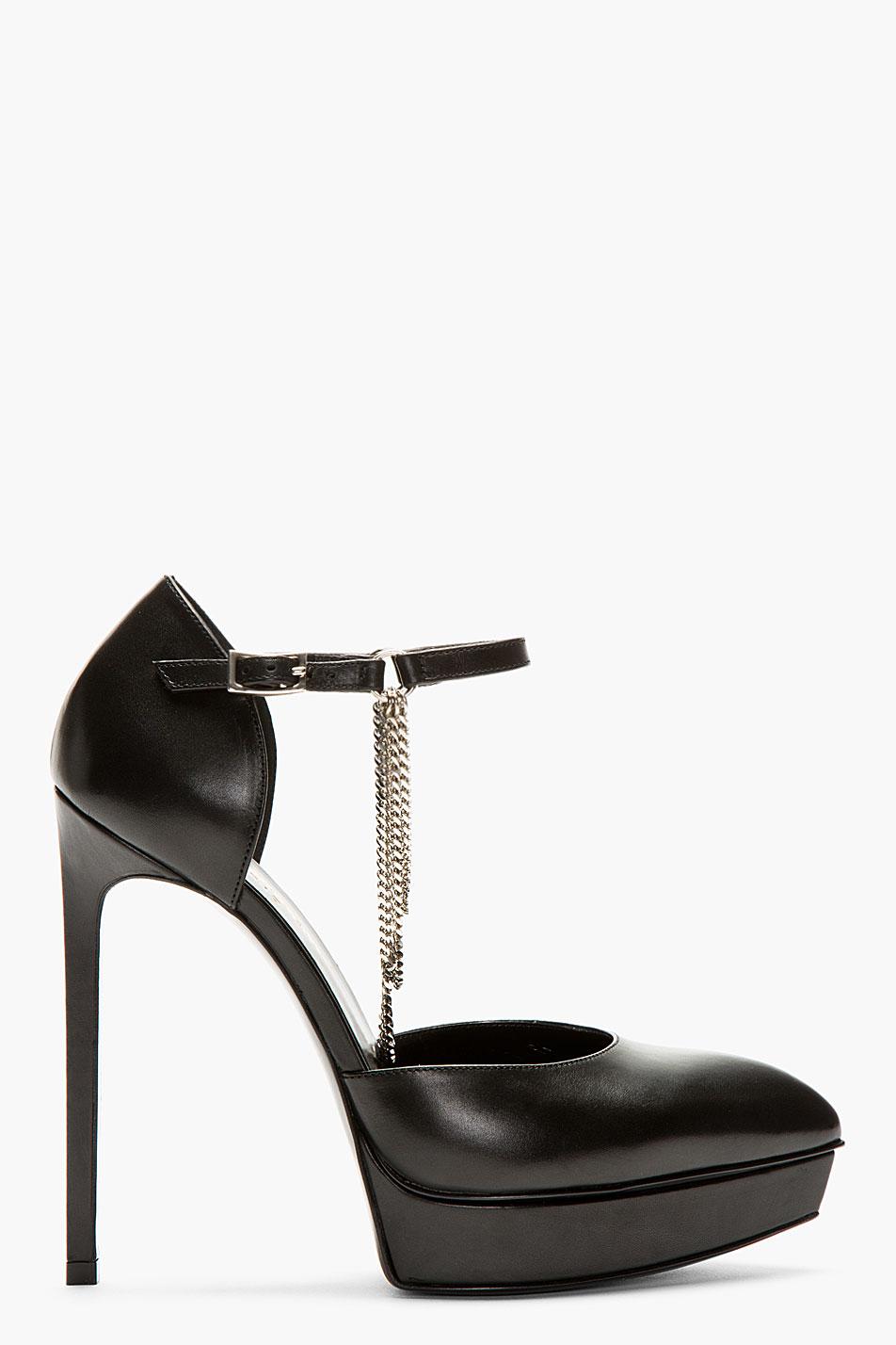 Lyst Saint Laurent Black Leather Chain Detail Heels In Black