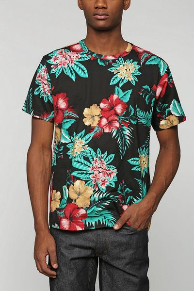 Bdg elwood island floral tee in multicolor for men black for Adidas floral shirt urban outfitters