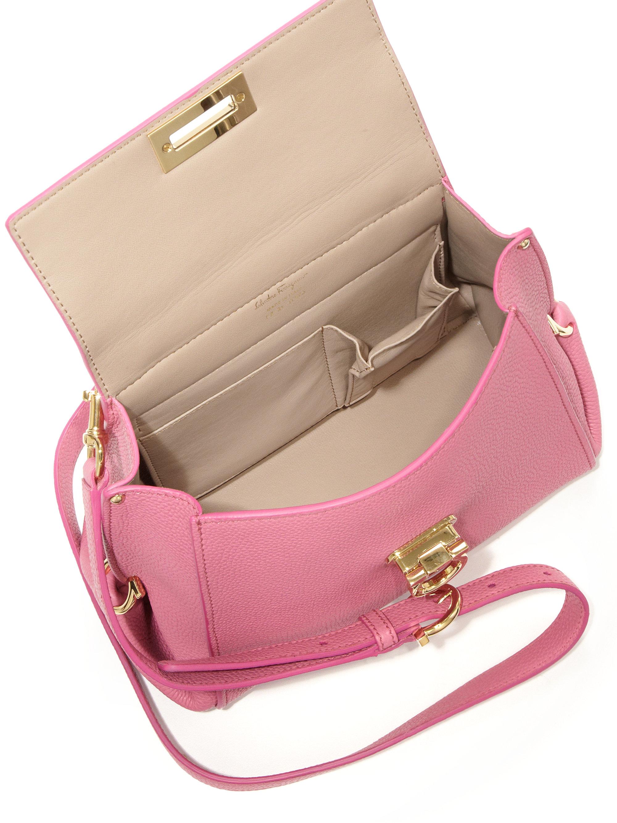 efb20c1621 Lyst - Ferragamo Sofia Small Leather Satchel in Pink