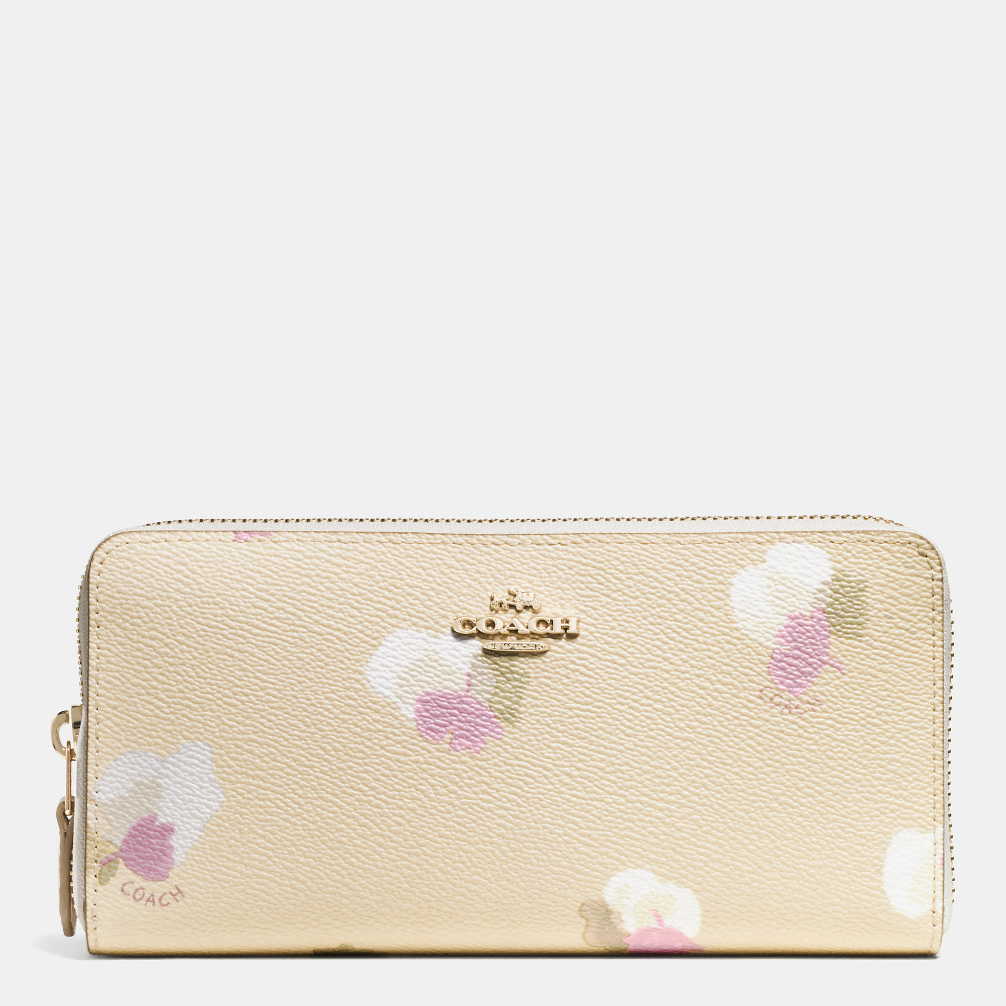e674691ea63d76 COACH Accordion Zip Wallet In Floral Print Coated Canvas in Metallic ...