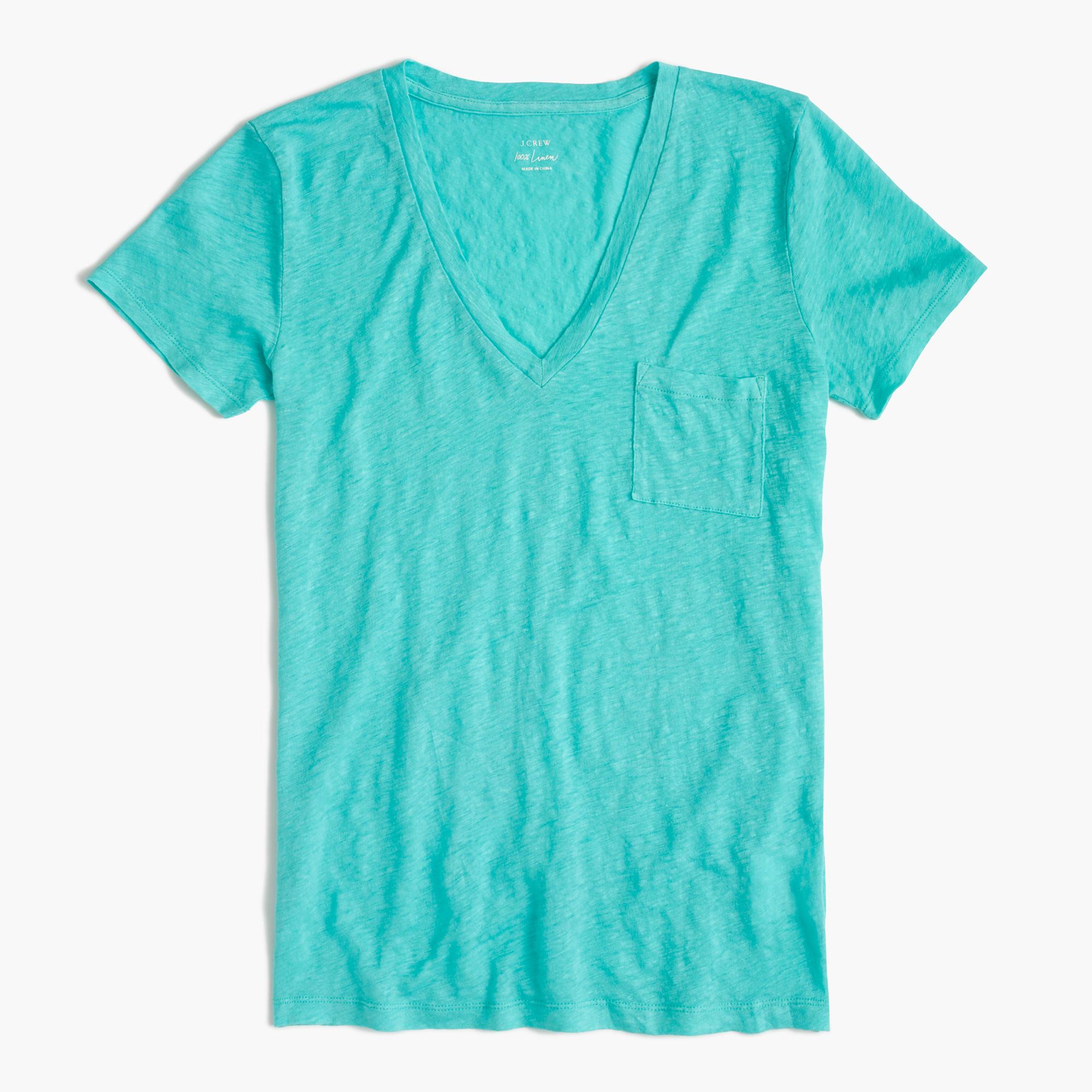 e97df2df8f6220 J.Crew Linen V-neck Pocket T-shirt in Green - Lyst