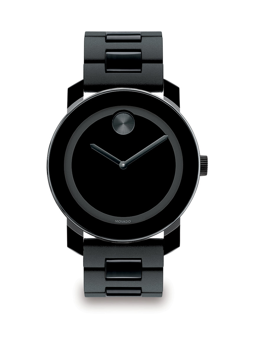 movado large bold stainless steel in black for